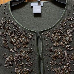 Ann Taylor Dark Grey Beaded Classic Unique Sweater